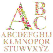 Font made with leaves floral alphabet letters set vector design