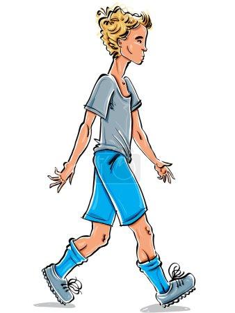 Illustration pour Dessin vectoriel pleine longueur d'un adolescent aux cheveux blonds du Caucase, dessin animé lumineux dessiné à la main vue latérale d'un jeune animé, illustration colorée d'un garçon marchant . - image libre de droit