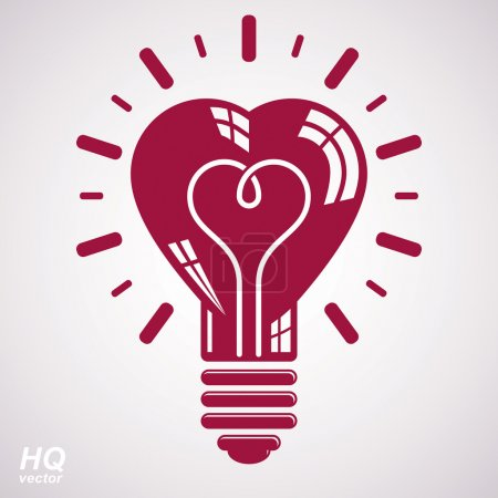 Illustration pour Icône conceptuelle de tempête de cerveau vectoriel - Thème de solution de problème d'entreprise. Ampoule électrique symbole isolé sur fond blanc. Élément de conception d'idée romantique . - image libre de droit