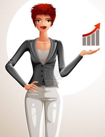 Illustration pour Belle femme d'affaires portrait complet du corps. Jeune femme aux cheveux roux exécutive avec sa main tenant sur une taille et montrant à un graphique financier avec une flèche de croissance . - image libre de droit