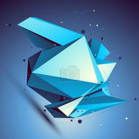 Blue contemporary technological misshapen construction