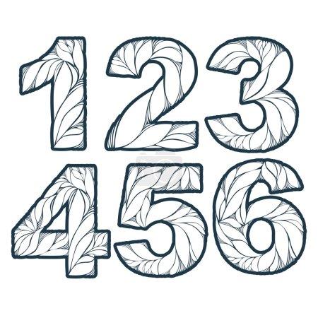 Illustration pour Numération vectorielle décorée de feuilles, 1, 2, 3, 4, 5, 6. Vintage numéros ornementaux fixés . - image libre de droit