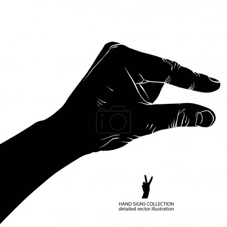 Illustration for Hand showing small value, or use it to put some small object between the fingers, detailed black and white vector illustration. - Royalty Free Image