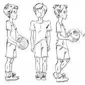 Set of vector full-length hand-drawn Caucasian teens with a soccer ball black and white front and side view sketch of youngsters monochrome illustration of standing boys
