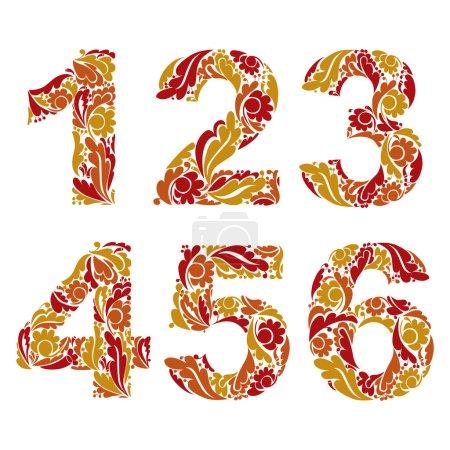 Herbal ornament   numbers  set