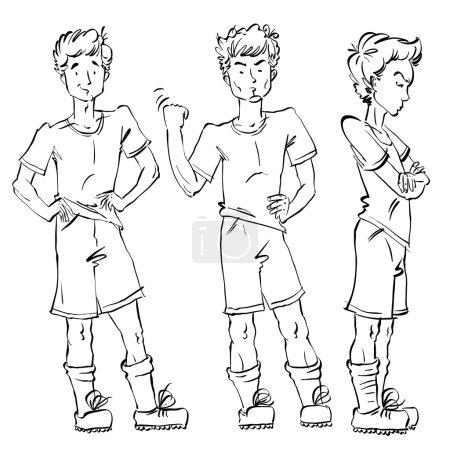 Set of  drawn Caucasian teens