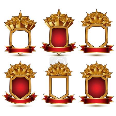 Illustration pour Ensemble d'éléments géométriques vectoriels dorés glamour isolés sur fond blanc, étoiles 3d polies, boucliers de protection avec rubans rouges. Collection de symboles cinq étoiles . - image libre de droit