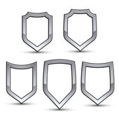 Set of heraldic vector emblems with silver outline collection of 3d conceptual defense geometric badges isolated on white background Eps8 silver blazons isolated on white background Dimensional decorative coat of arms