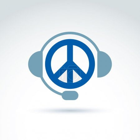 Call center icon with headphones