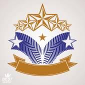 Festive emblem with five pentagon stars