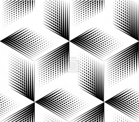 Illustration for Seamless optical ornamental pattern with three-dimensional geometric figures in black and white colors - Royalty Free Image