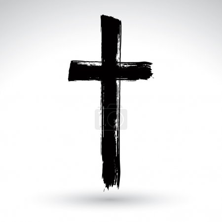 Illustration for Hand drawn black grunge cross icon isolated on white background. - Royalty Free Image