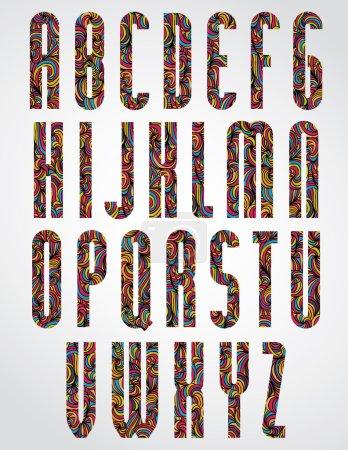 Illustration pour Fonte étroite colorée ornementale, lettres majuscules sur fond blanc - image libre de droit