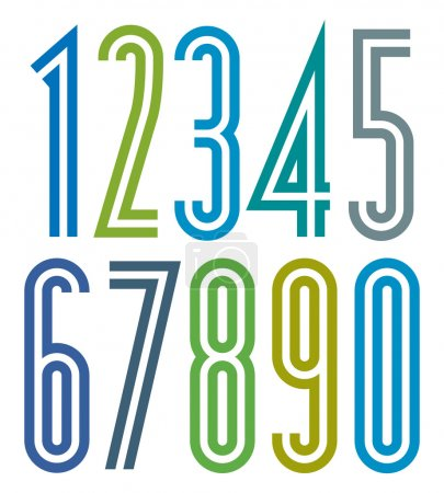 Illustration for Poster geometric bright simple striped numbers with double lines. - Royalty Free Image