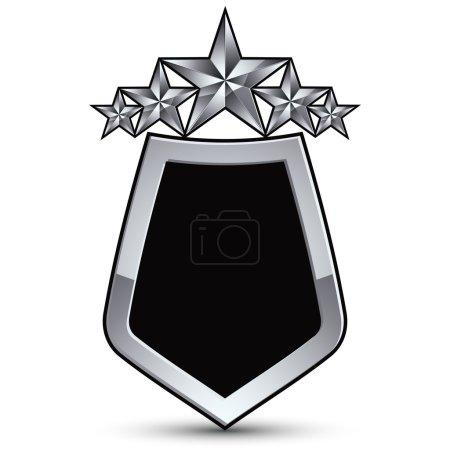 Illustration pour Emblème vectoriel noir festif avec contour et cinq étoiles pentagonales décoratives argentées, élément conceptuel royal 3D, eps8 clair. Blason symbolique isolé sur fond blanc. Scutcheon héraldique - image libre de droit