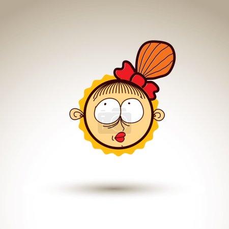 Illustration pour Dessin vectoriel artistique coloré de fille rêveuse heureuse avec belle coiffure, élément de conception de réseau social isolé sur blanc. Illustration enfantine, émotions et concept de tempérament humain . - image libre de droit
