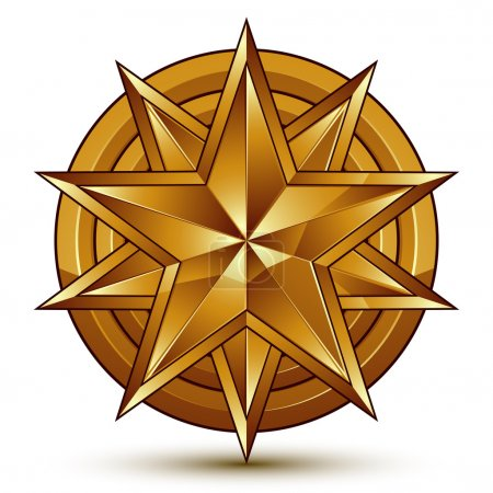 3d golden star emblem