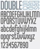 Double Line retro style geometric font light condensed version trendy and stylish letters alphabet Best for use as a headlines in advertising stylish retro art graphic designs posters and web design Vector