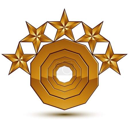 Illustration pour Symbole royal classique vectoriel 3d, emblème rond doré sophistiqué avec 5 étoiles isolé sur fond blanc, élément aurum brillant . - image libre de droit
