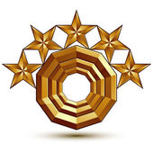 Heraldic 3d glossy icon can be used in web and graphic design five-pointed golden stars clear EPS 8 vector