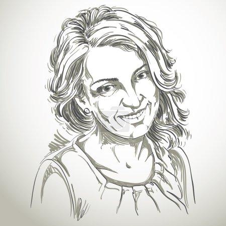 Portrait de femme délicate et belle, vecteur noir et blanc