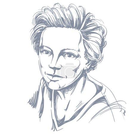 Hand-drawn vector illustration of beautiful confident woman. Mon