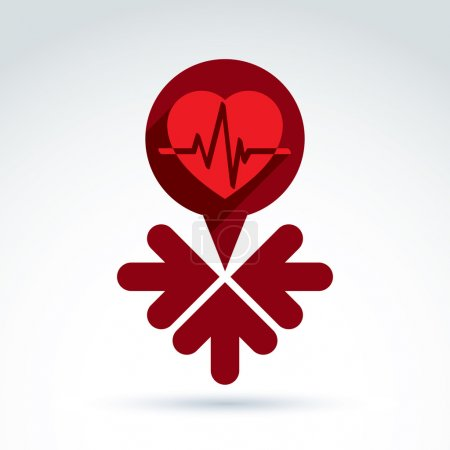 Illustration for Vector charity and donation symbol - illustration of a red heart with arrows. Idea of assistance and volunteer, conceptual blood bank. - Royalty Free Image