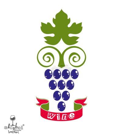 Stylized grapes vine illustration.