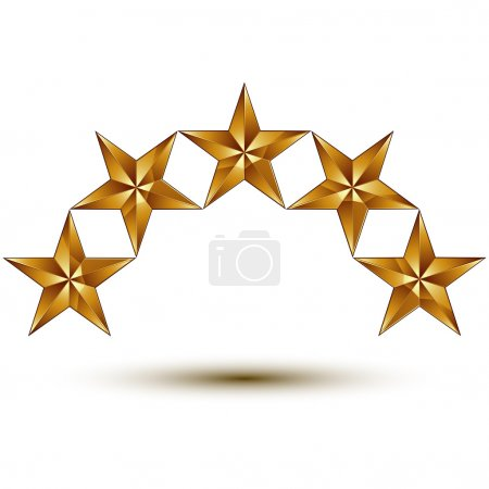 golden round five stars isolated
