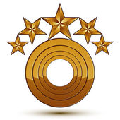 Royal golden geometric symbol with white copy space stylized golden stars