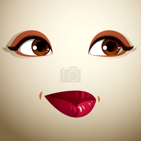 Illustration for Facial expression of a young pretty woman. Coquette lady visage, human eyes and lips - Royalty Free Image