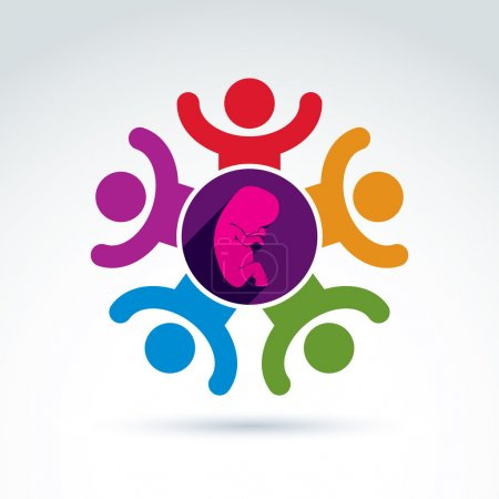 Illustration for Pregnancy and abortion idea, baby embryo symbol. Vector colorful Illustration of a group of excited people with hands up - international association for baby life protection. - Royalty Free Image