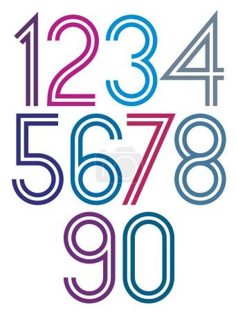Cartel redondeado grandes números coloridos