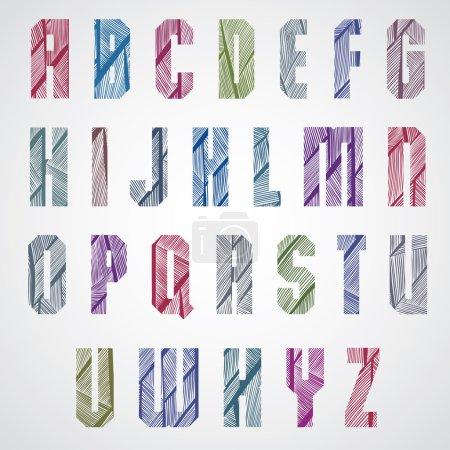 Illustration pour Motif ornemental coloré police à la mode, lettres majuscules rectangulaires. Illustration vectorielle - image libre de droit
