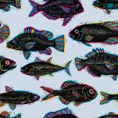 Freshwater fish endless pattern