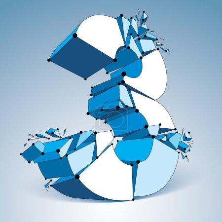 Perspective demolished blue number 3
