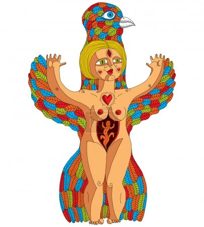 Bizarre creature, nude woman with wings