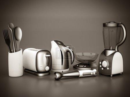 Photo pour Image des appareils ménagers sur un fond gris. noir et blanc - image libre de droit
