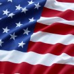 Closeup of ruffled American flag...