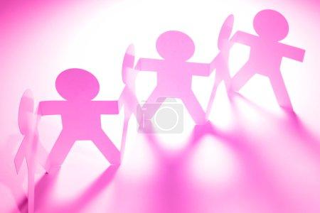 Pink paper people