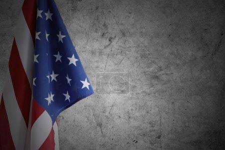 USA flag and wall
