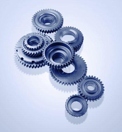 Gears on blue