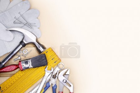 Photo for Assorted work tools. Copy space - Royalty Free Image