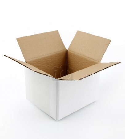 Photo for Open cardboard box on plain background - Royalty Free Image