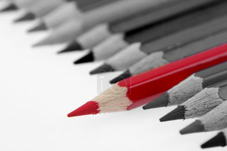 Photo for One red pencil standing out from others - Royalty Free Image