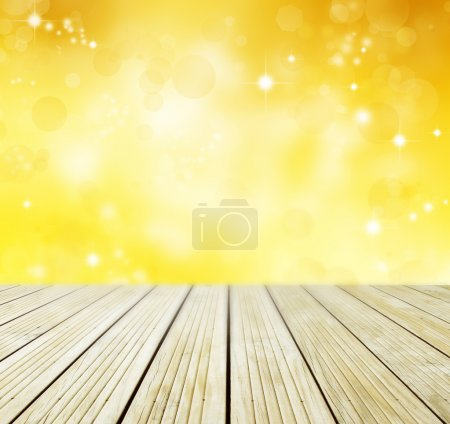 Empty floor and yellow background