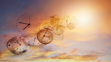 Photo for Clocks in bright sky. Time flies - Royalty Free Image