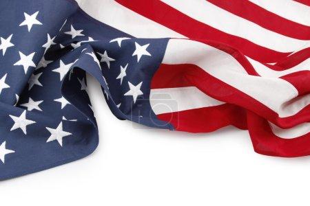 Photo pour Primer plano de la bandera americana sobre fondo blanco - image libre de droit