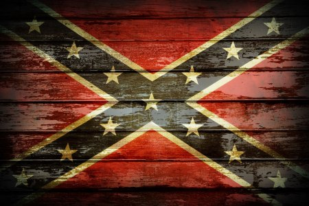 Photo for Closeup of Confederate flag on boards - Royalty Free Image