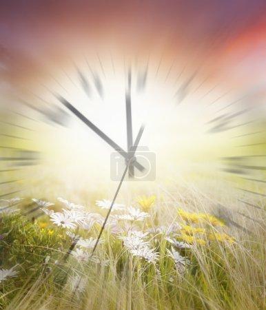 Foto de Reloj borroso en movimiento y flores - Imagen libre de derechos